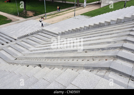stairs fountain Bercy park Paris France - Stock Photo