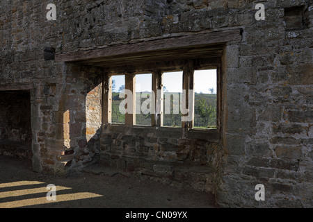 Interior of the Monks Day Room and Dormitory Area in the Remains of Egglestone Abbey Near Barnard Castle County - Stock Photo