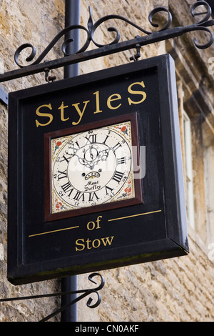 Styles of Stow sign. Antique clock specialists in Stow on the Wold. - Stock Photo