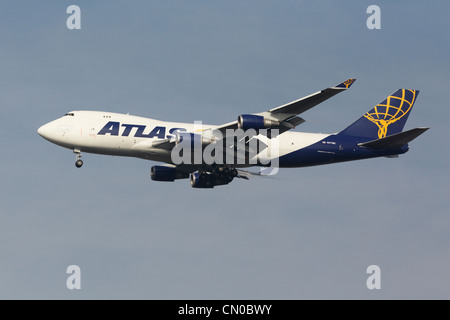 Atlas Air Boeing 747-400 Freighter on final approach - Stock Photo