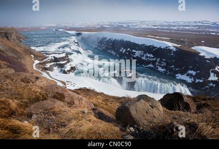 Gullfoss waterfalls,  cascading deep into the canyon of Hvítá, southwest Iceland. - Stock Photo