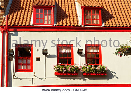 Red & White cafe in Whitby old town. Whitby, North Yorkshire, England - Stock Photo