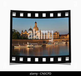 Filmstrip: Old Town view to the Church of our Lady in the early morning, Dresden, Germany, Europe - Stock Photo