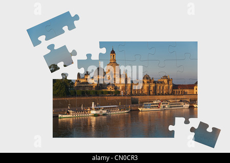 Puzzle: Old Town view to the Church of our Lady in the early morning, Dresden, Germany, Europe - Stock Photo
