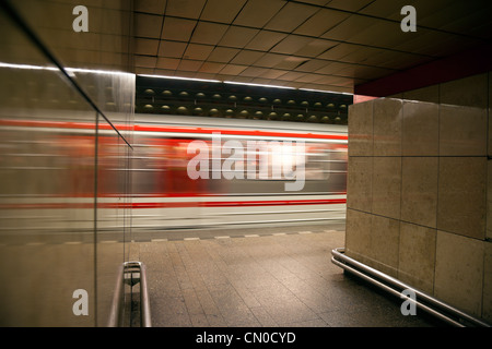 Train arriving to Starometska Station - Stock Photo