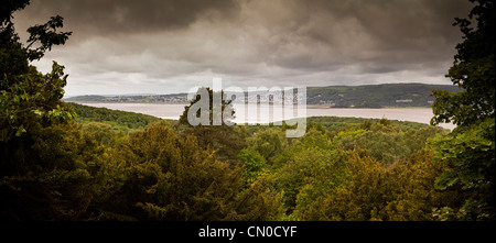 UK, Cumbria, Grange Over Sands, from Arnside, across Kent Channel of Morecambe Bay, Panoramic - Stock Photo
