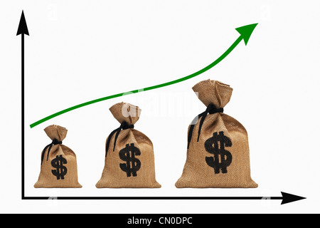a chart with an increasing curve, three different big money bags with U.S. Dollar     currency sign next to each - Stock Photo