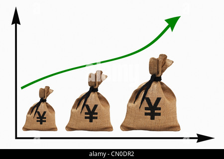 a chart with an increasing curve, three different big money bags with Japanese Yen    currency sign next to each - Stock Photo