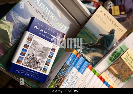 UK, Cumbria, Lake District, Alfred Wainwright Walks books in shop - Stock Photo