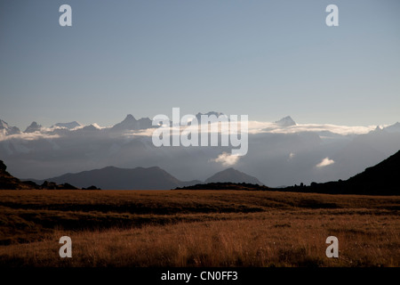 View from Cabane Du Mont Fort, looking towards the' Grand Combin' and the 'Glacier de Corbassiere'. - Stock Photo