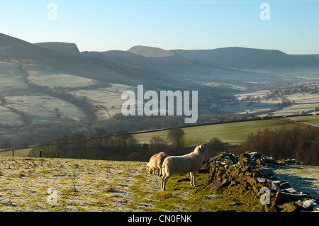 Edale from near Hope Cross on the Win Hill to Kinder Scout ridge.  Above Edale End, Peak District, Derbyshire, England, - Stock Photo