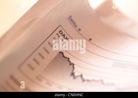 Falling stock index DAX in German newspaper - Stock Photo