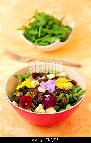 Salad with crusty wild rice. Recipe available - Stock Photo