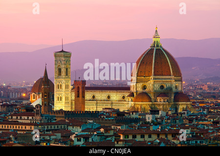 Florence, Duomo Santa Maria del Fiore at Dusk - Stock Photo
