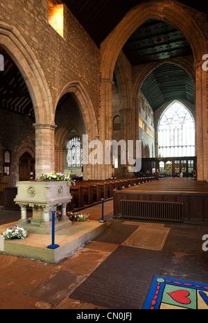 UK, Cumbria, Cartmel Priory interior, font in The Crossing - Stock Photo