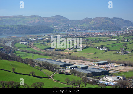 Mochdre Industrial Estate with A55 and river Conwy in the background - Stock Photo