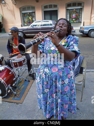 Street jazz musicians, French Quarter, New Orleans, Louisiana, United States of America - Stock Photo
