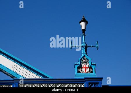 Tower Bridge, lamp detail, London SE1 2UP, United Kingdom - Stock Photo