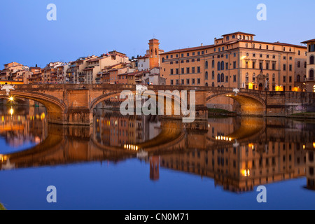 Europe, Italy, Florence, the Arno River and Riverbank at Dusk - Stock Photo