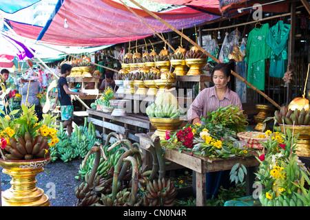 Offerings for sale outside the Botataung Paya, Yangon (Rangoon), Myanmar (Burma) - Stock Photo
