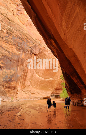 Mother and children backpacking in Coyote Gulch, a tributary of the Escalante River in Southern Utah. - Stock Photo