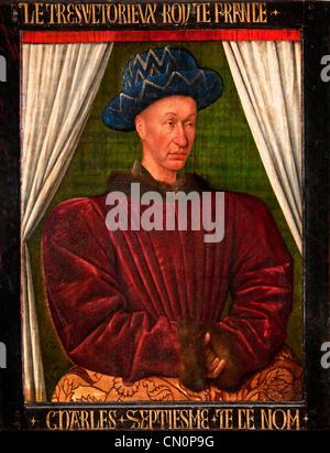 Charles VII 1403-1461 roi de France by Jean Fouquet  french Charles VII King of France 1403-1461 by Jean Fouquet - Stock Photo