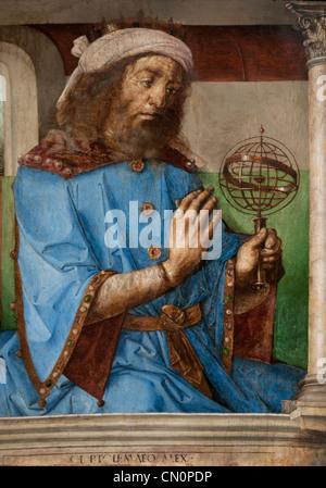 Ptolemaios - Claudius Ptolemaeus 90 –168 mathematician geographer Urbino Paintings 1474 Justus van Gent and Pedro - Stock Photo