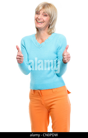 Middle age woman showing thumbs up - Stock Photo