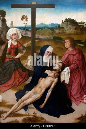 Deploration du Christ  The Lamentation of Christ 1460 Dirk Diedrick Dieric Bouts 1410-1475 Dutch Netherlands Dutch - Stock Photo
