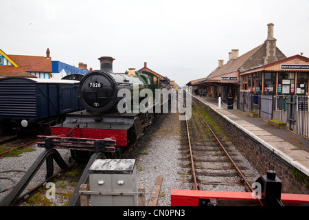 West Somerset Railway, Minehead, Station Track & Locomotives - Stock Photo