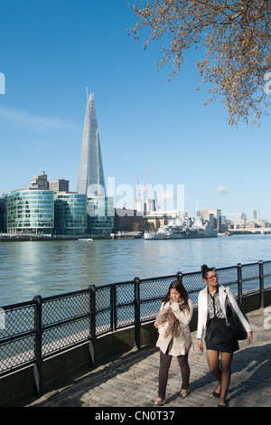 The Shard of Glass seen from the north bank of the river Thames, London, England. - Stock Photo