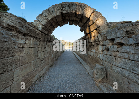 Krypte is the Stadium Monumental Entrance (5th cent. B.C.) in Olympia, Greece - Stock Photo