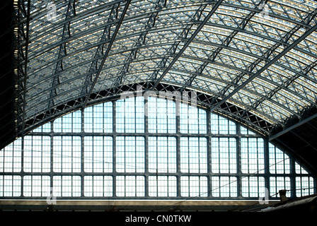 St. Pancras Rail Station Roof at London - Stock Photo