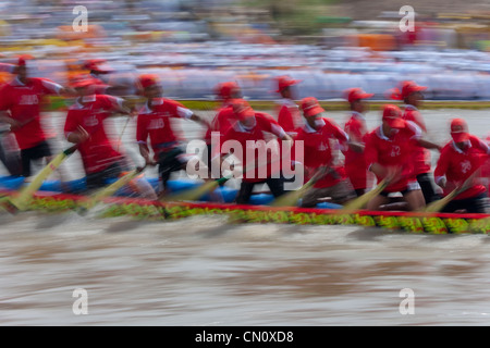 Ngo Boat Race celebrating Khmer people's new year festival, Ghe Ngo Festival, on Mekong River, Soc Trang, Vietnam - Stock Photo