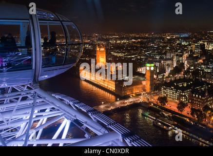 Big Ben near River Thames seen from the London Eye Ferris wheel in London, England, on November 4, 2009. (Adrien Veczan)