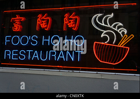 Neon sign of Foo's Ho Ho Chinese restaurant in Chinatown, Vancouver, British Columbia, Canada. - Stock Photo