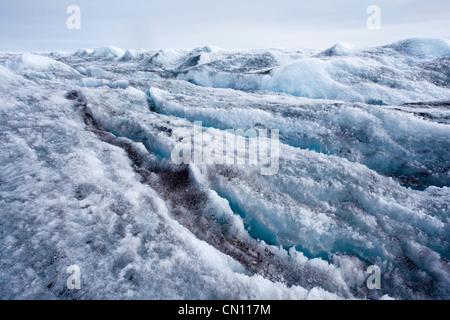 Arctic Tundra - Greenland ice cap crevassed glacier view - Stock Photo