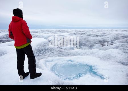 Greenland icecap - crevassed glacier view in summer - MR - Stock Photo