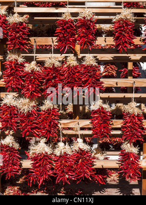 Santa Fe chillies chili ristras - Stock Photo