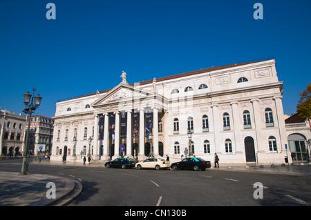 Rossio square with Teatro Nacional de Dona Maria II in Baixa district central Lisbon Portugal Europe - Stock Photo