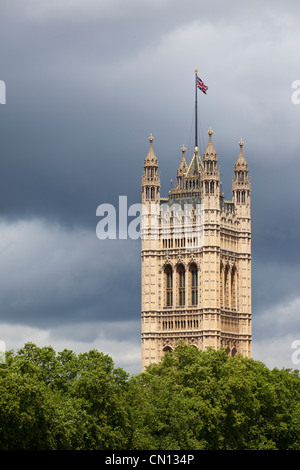 Victoria Tower on the Houses of Parliament, London, England, UK - Stock Photo