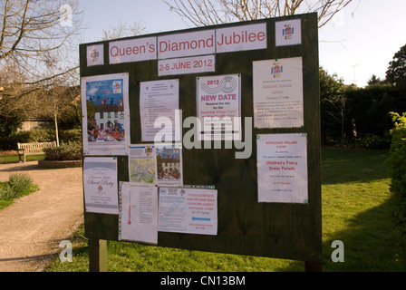 Noticeboard in village of Rowledge showing details of local celebrations for Queen's Diamond Jubilee in June 2012, - Stock Photo