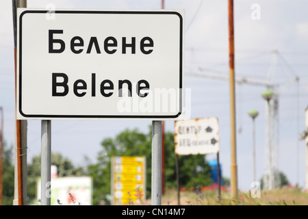 Road sign at the town limit of Belene, the site of the planned second nuclear power plant in Bulgaria - Stock Photo