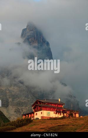 Italy, Trentino-Alto Adige, Dolomites, group Pale di San Martino, Col de Passo Rolle - Stock Photo