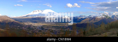 A panoramic view of Mt. St. Helen's from the road leading to the observatory center. - Stock Photo