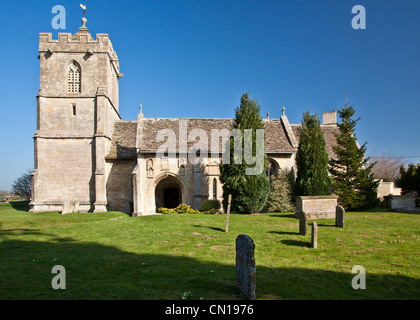 12th century St Mary's Church in the Wiltshire village of Broughton Gifford, a typical English country church. - Stock Photo