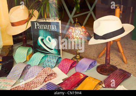 Marbella Malaga Province Costa del Sol Spain. Panama hats and silk ties in shop window - Stock Photo