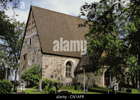 15th Century medieval Vanaja Church, Hameenlinna, Finland - Stock Photo