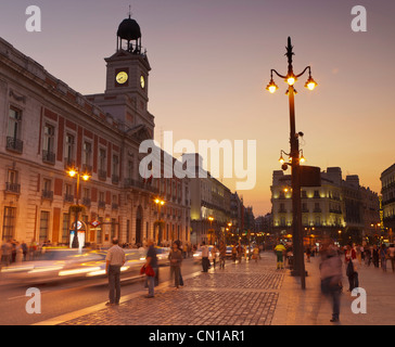 Madrid, Spain. Puerta del Sol at dusk. - Stock Photo