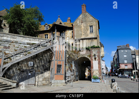 France, Calvados, Honfleur, the Lieutenance of the Vieux Bassin (Old Basin) - Stock Photo